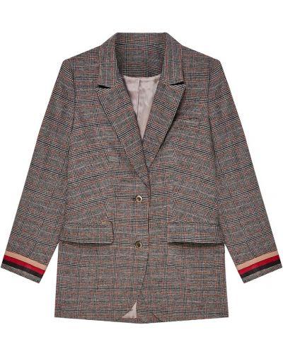 Серый однобортный удлиненный пиджак в клетку Laroom