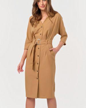 Платье с поясом на пуговицах с V-образным вырезом Fly