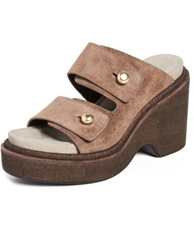 Sandały skórzane na obcasie - brązowe Rag & Bone