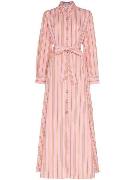 Różowa sukienka długa z długimi rękawami bawełniana Evi Grintela