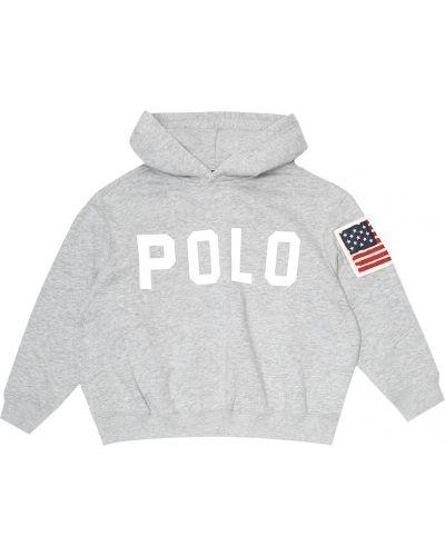 Markowe szary bawełna bawełna bluza z kapturem Polo Ralph Lauren Kids