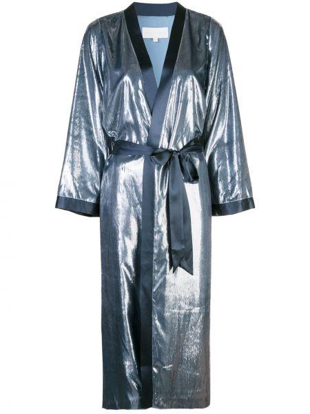 Шелковое синее пальто свободного кроя с подкладкой Michelle Mason
