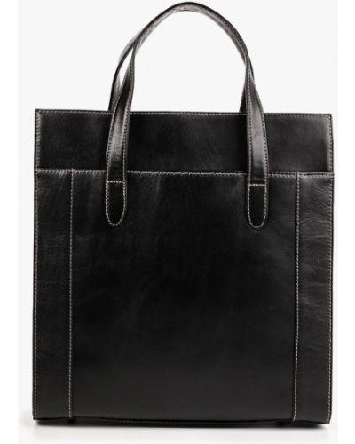 Кожаная сумка с ручками черная Kofr