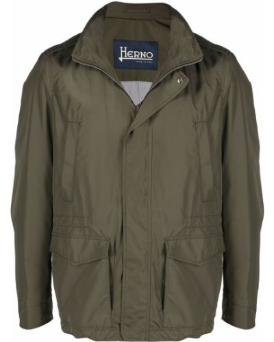 Bawełna długa kurtka z kapturem khaki Herno
