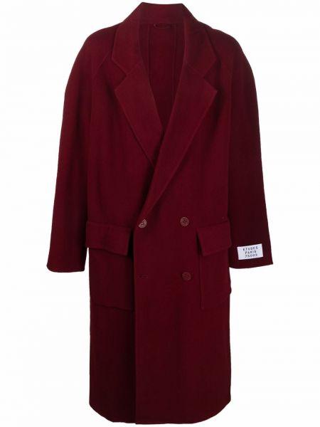Długi płaszcz wełniany bordowy Etudes