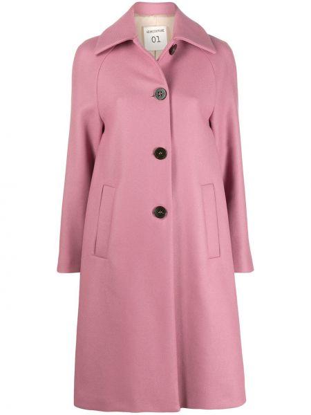 Однобортное розовое шерстяное длинное пальто Semicouture