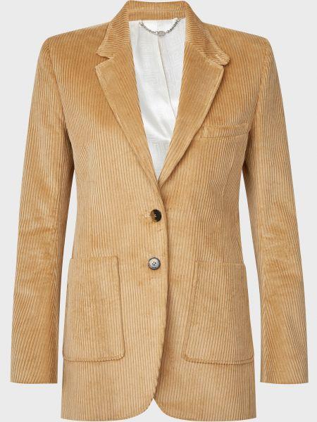 Бежевый пиджак на пуговицах из вискозы Paco Rabanne