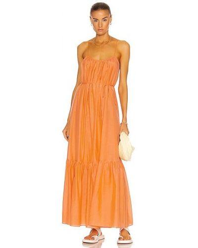 Оранжевое шелковое платье с подкладкой Matteau