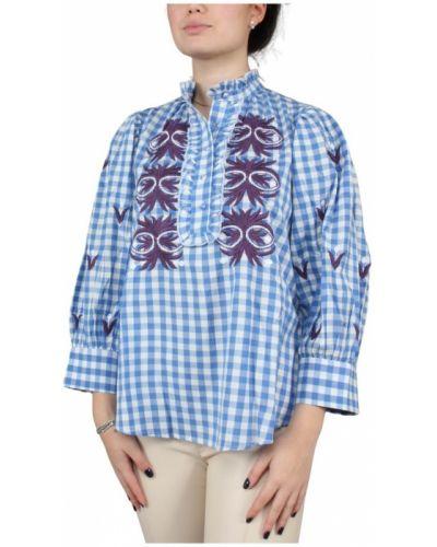 Niebieska bluzka z długimi rękawami Antik Batik