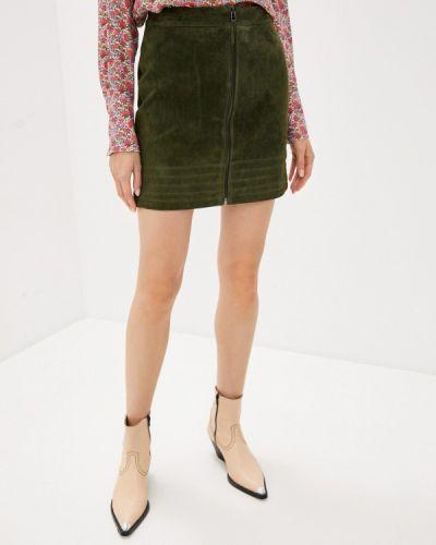 Кожаная зеленая юбка Vila