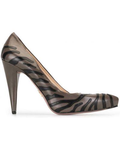 Кожаные коричневые туфли на высоком каблуке на каблуке без застежки Prada Pre-owned