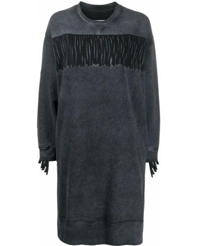 С рукавами черное платье макси с бахромой Mm6 Maison Margiela