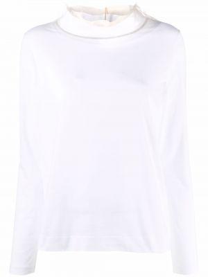 Biała bluzka z długimi rękawami bawełniana Fabiana Filippi