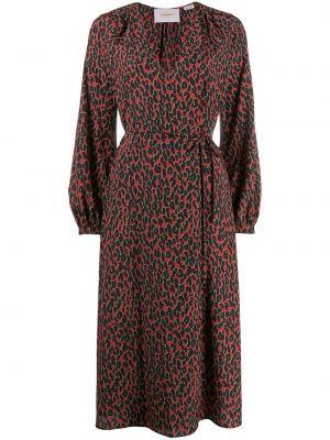 Красное платье миди с запахом с V-образным вырезом на молнии La Doublej