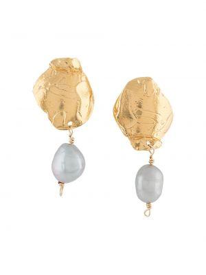 Серьги-гвоздики золотые с жемчугом позолоченные Alighieri
