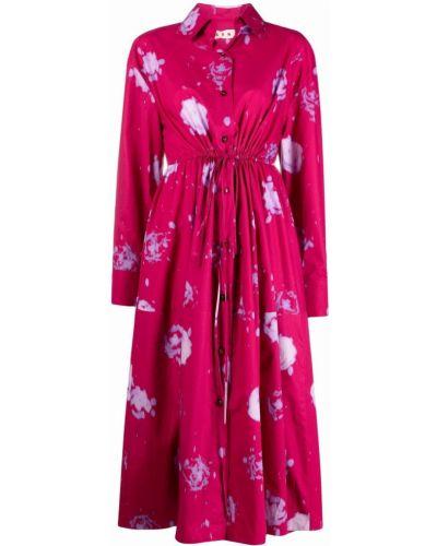 Хлопковое платье миди - розовое Marni