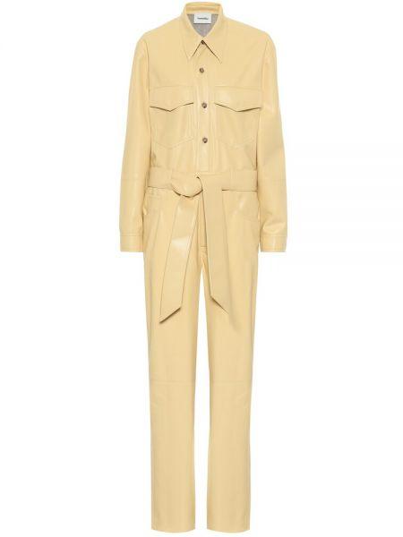 Желтый кожаный комбинезон Nanushka