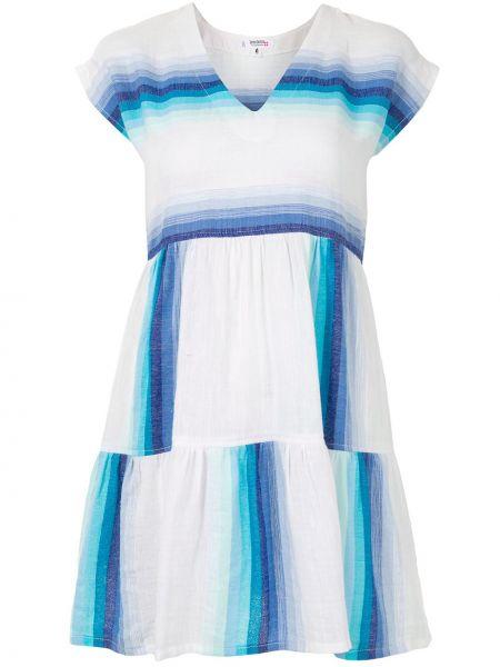 Белое платье мини без рукавов с вырезом Lemlem