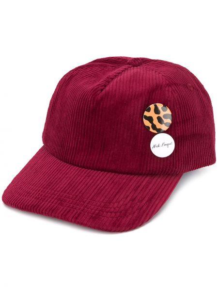 Бейсбольная красная кепка с нашивками вельветовая Nick Fouquet