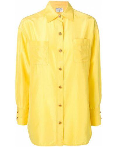 Рубашка с длинным рукавом ретро с карманами Chanel Vintage