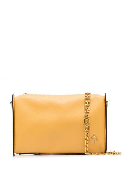 Желтая кожаная сумка из натуральной кожи Manu Atelier