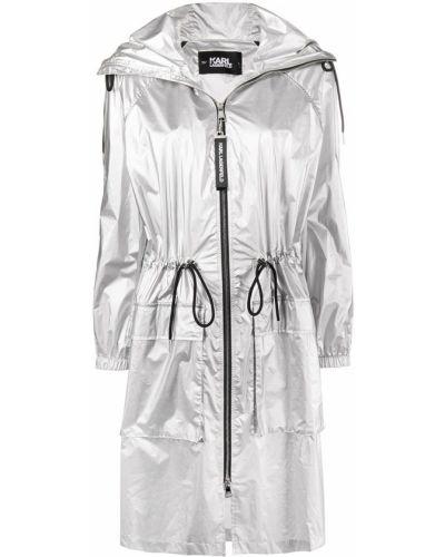 Płaszcz przeciwdeszczowy z kapturem srebrny Karl Lagerfeld