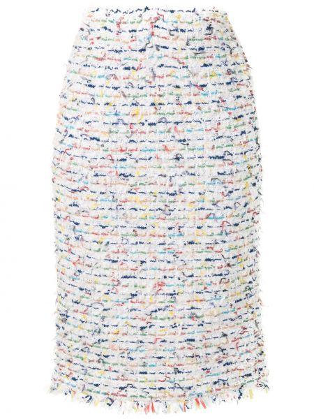 Белая акриловая с завышенной талией юбка карандаш на молнии Coohem