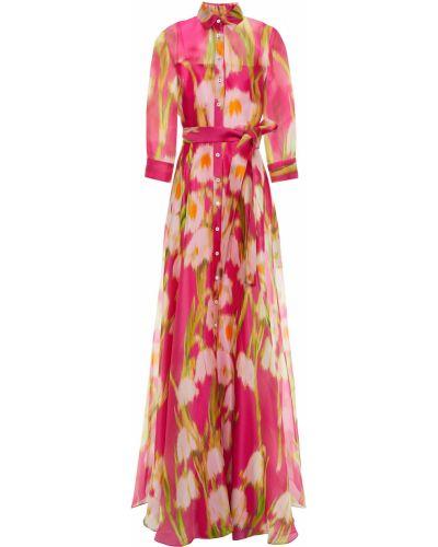 Różowa sukienka na wesele z jedwabiu zapinane na guziki Carolina Herrera