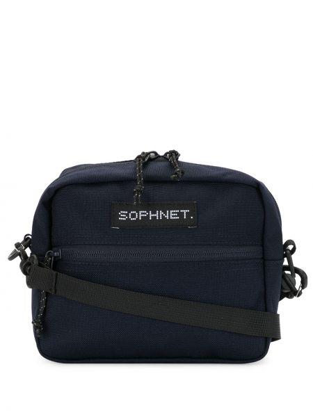 Темно-синяя нейлоновая сумка на плечо на молнии с нашивками Sophnet.