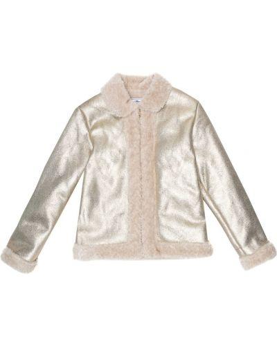 Куртка из искусственного меха золотая с опушкой Tartine Et Chocolat