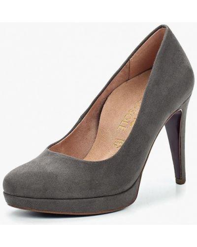 Туфли на каблуке серые Heart & Sole By Tamaris
