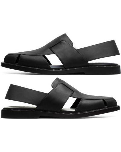 Otwarty skórzany czarny sandały Camper
