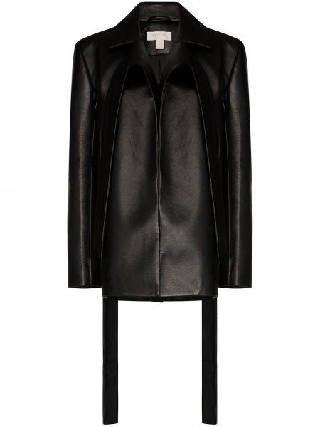 Черный кожаный пиджак с воротником Matériel