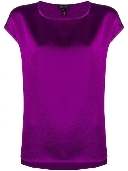Fioletowa bluzka krótki rękaw z jedwabiu Escada