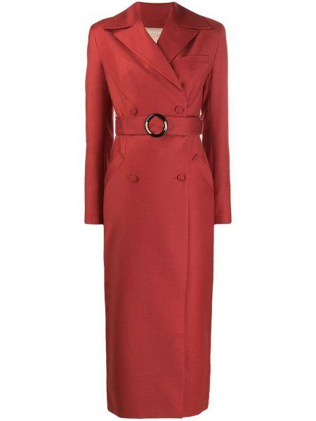 Красное шерстяное длинное пальто двубортное Matériel