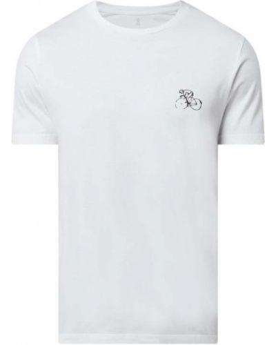 Biały t-shirt bawełniany z printem Armedangels