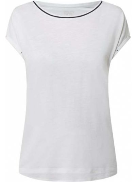 Biała bluzka bawełniana z paskiem Esprit