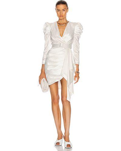 Шелковое белое платье мини с поясом Patbo