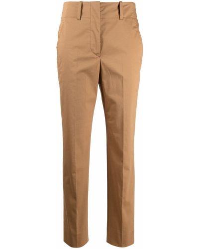 Хлопковые зауженные коричневые укороченные брюки Incotex