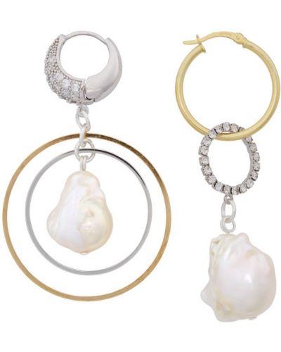 Серебряные серьги-гвоздики с жемчугом Mounser