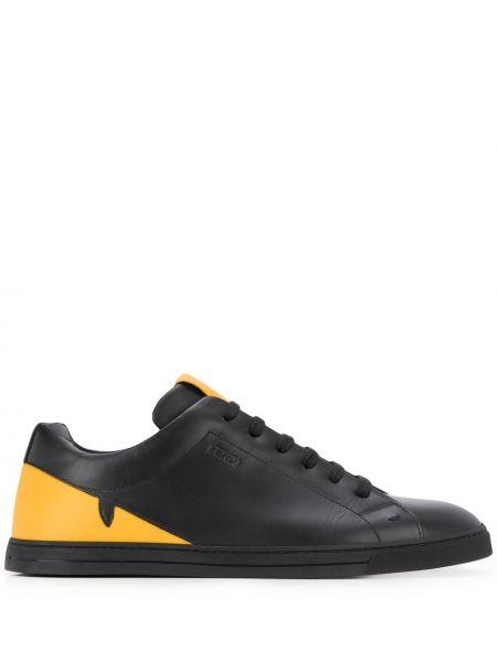 Koronkowa czarny sneakersy z logo okrągły Fendi