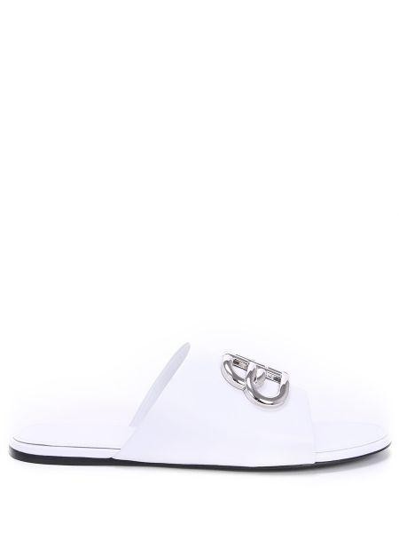 Шлепанцы белые кожаные Balenciaga