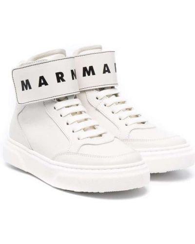 Białe trampki koronkowe Marni Kids