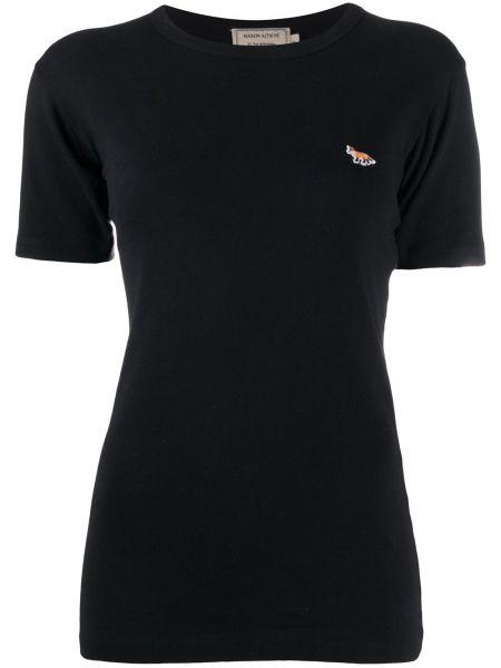 Хлопковая черная футболка с нашивками с круглым вырезом Maison Kitsuné