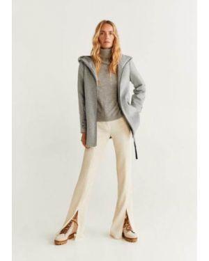 Пальто с капюшоном серое шерстяное Mango