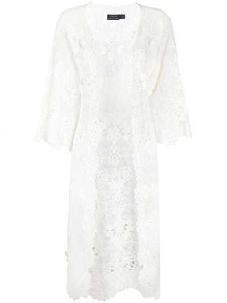 Ватное хлопковое белое пальто Polo Ralph Lauren