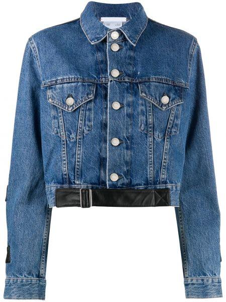 Кожаная куртка на пуговицах - синяя Helmut Lang