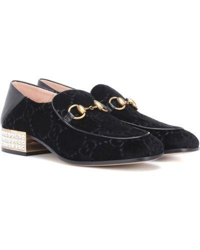 Черные бархатные лоферы винтажные Gucci