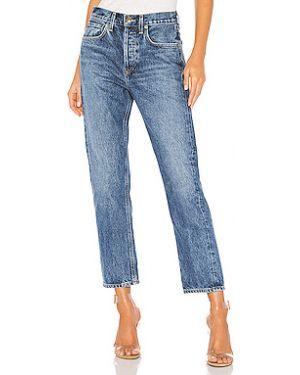 Прямые джинсы с эффектом потертости на пуговицах Agolde