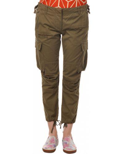 Зеленые брюки хлопковые Balmain